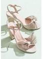 Elle Kalın Topuklu Abiye Ayakkabı Bej